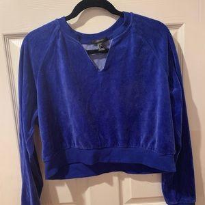 Blue velvet long sleeve crop top